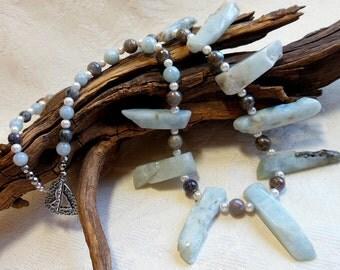 Aquamarine, labradorite and pearl necklace, raw aquamarine sticks, white bronze heart toggle