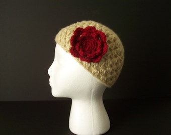 Crochet Beanie Hat Skull Cap with Red Flower Handmade for Child/Teens/Small Ladies