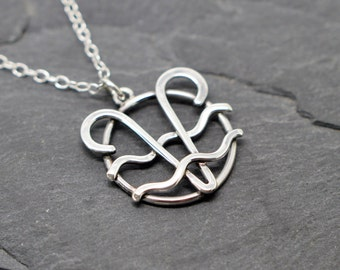 Aquarius Aries combined zodiac necklace sterling silver
