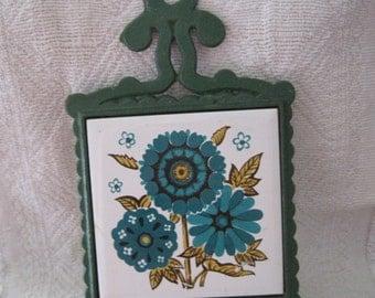 Vintage HS Colorful Cast Iron Flower Trivet