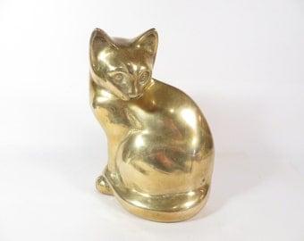 Vintage Brass Cat - Brass Cat Door Stop - Brass Cat Figurine