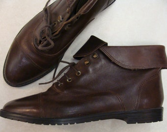 90's LEATHER ANKLE BOOTIES brown cuffed low boots 8.5 9 N