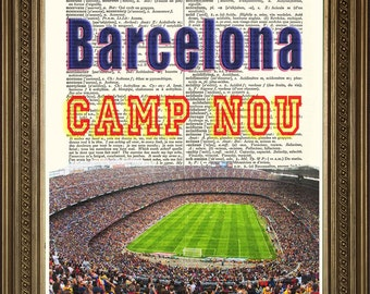 "BARCELONA STADIUM PRINT: Camp Nou Football Wall Hanging on Vintage Dictionary Page (8 x 10"")"