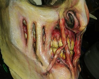 Pale Horned Demon with Teeth Latex Mask, Monster Mask