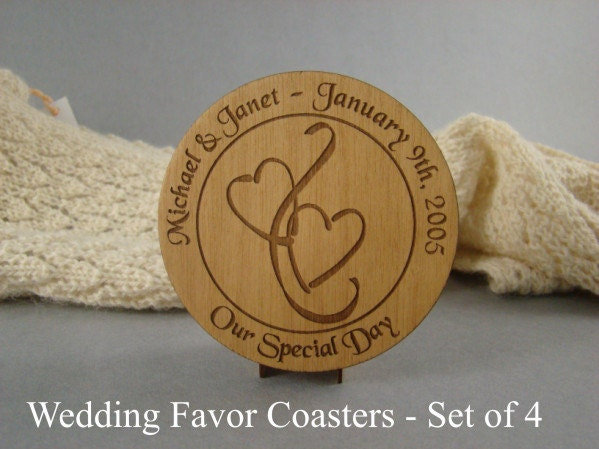 Wedding Favor Coaster Set Of 4 Solid Cherry Free