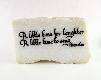 Vintage Quote On Stone - FREE Shipping in the USA - Quartz, Black And White, Paperweight, Decoration Piece, Words On Stone 923