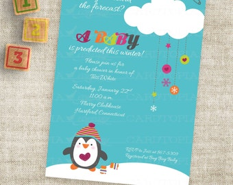 Penguin Baby Shower or Winter Birthday Party Invitation Printable Custom Digital Printable File Professional Printing Option