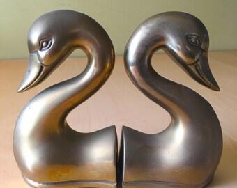 Vintage Swan/Duck Brass Bookends Mid Century Brass Miller and Rhoads