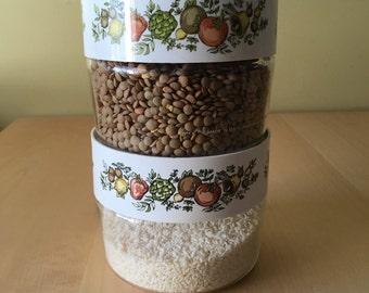 Vintage Pyrex Glass Lidded Jar/ Baking Dish/ Set of 2/ Vegetable/Herb/Spice Design