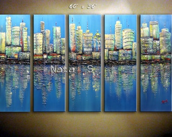 SKYLINE Painting, Modern City Painting, Abstract Cityscape, Landscape, Textured Artwork, Living Room Decoration, Oversized wall Art - Nata S
