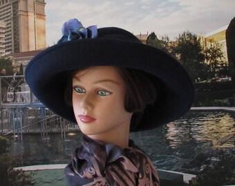 HAT Blue Wool Big Flower large Brim Hat BETMAR made in USA
