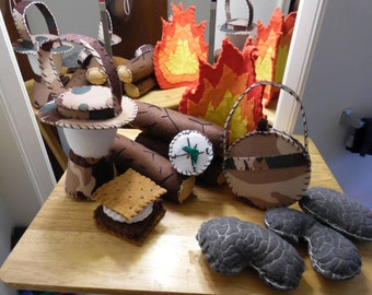 Kids Camoflage Camp Set: Fire Logs Canteen Compass S'more Stones