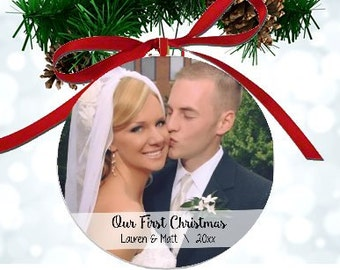 First Christmas Ornament 1st Christmas Mr and Mrs Photo Ornament