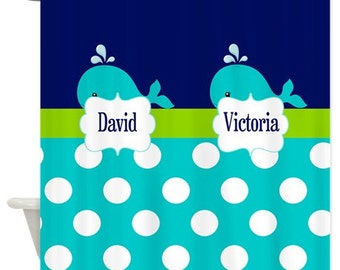 Siblings Whale Polka Dots Fabric Shower Curtain YOU CHOOSE COLORS