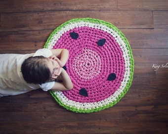 SALE Watermelon Round Cotton Rug Ready to Ship