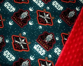 "Star Wars Baby Blanket, Security Blanket 19""X23"", Gender Neutral Minky Lovey, Geek Baby, Baby Shower Gift, Nerd Baby Made To Order"