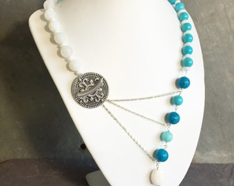 White to Blue Ombre Gemstone Adrienne Adelle Signature Necklace - Turquoise, Aquamarine, Dragon Vein Agate, Jade
