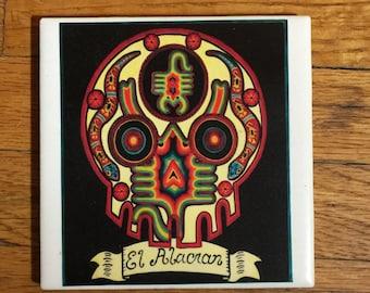 El Alacran (The Scorpion) Ceramic Tile Coaster -  Loteria and Day of the Dead skull Dia de los Muertos calavera designs