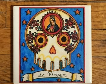 La Virgen (The Virgin) Ceramic Tile Coaster -  Loteria and Day of the Dead skull Dia de los Muertos calavera designs