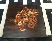 Use coupon code: Save50 to get 50% off now to Feb 28 Vintage Wood Marquetry Leopard perfect for man cave