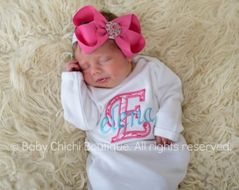 Newborn girl gown Infant gown Baby girl gown Monogrammed gown Personalized gown Take home outfit Newborn Girl Gift Applique Gown