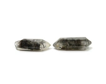 Tibetan Quartz Crystals 2 Double Terminated Stones 25mm x 7mm and 8mm Natural Rough Stones (Lot 1208) Natural Mineral