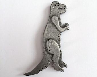 """Pewter Metal Art Dinosaur Pin Brooch // T Rex // Tyrannosaurus Rex // Jurassic // 2.25"""""""