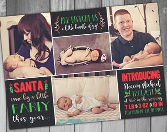 Birth Announcement Christmas Birth Christmas Baby Holiday Card Christmas Card Christmas Photo Printable Photo Printable Christmas New Baby