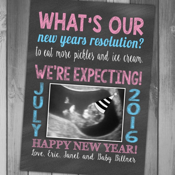 New Baby Announcement Gift Ideas : New years pregnancy announcement expecting by claceydesign