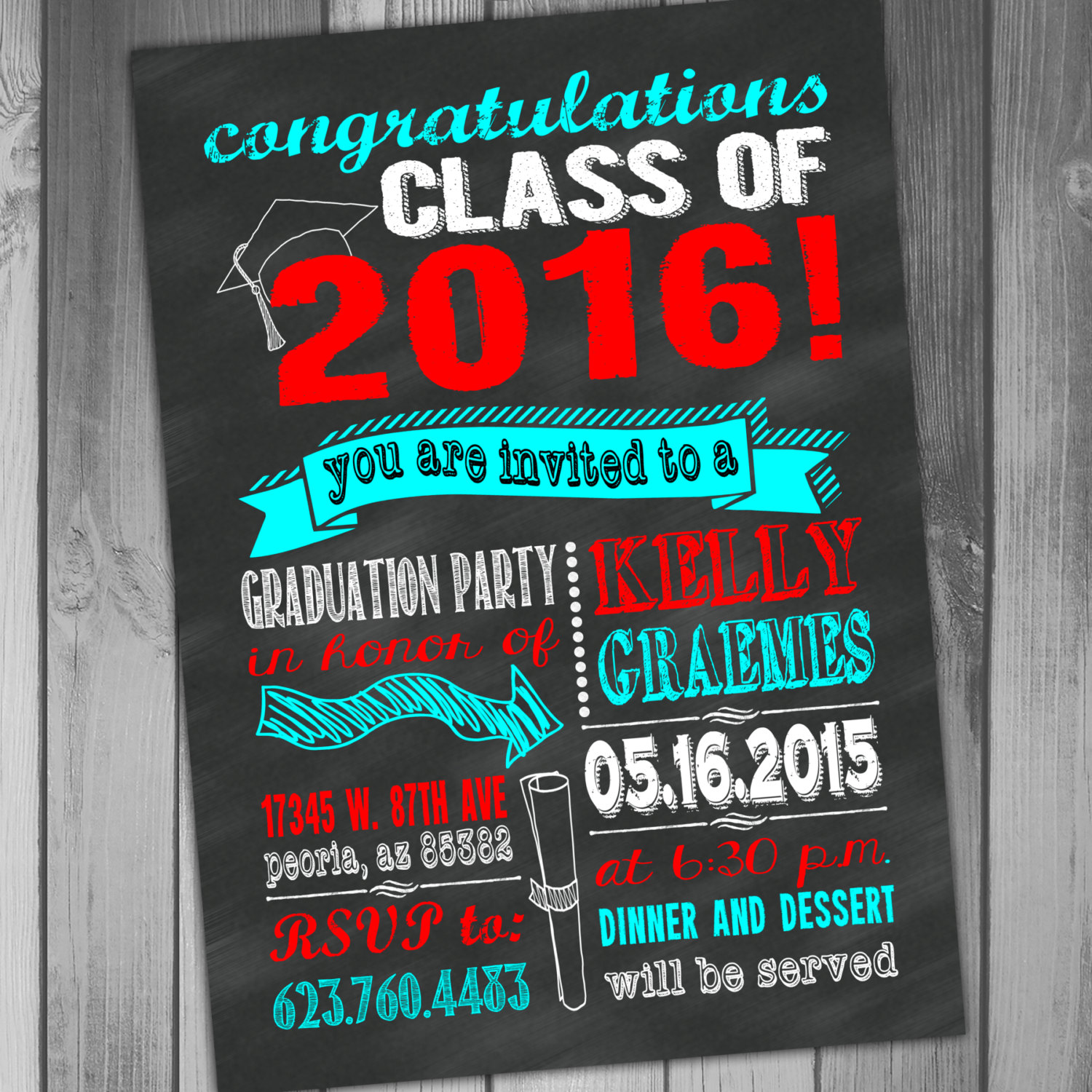Graduation Invitation Chalkboard Graduation Party High School – Printable Graduation Invitation Templates