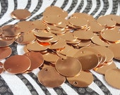 Copper Blanks Discs Circles Coin Beads, 20 Piece 7/8 inch Unfinished Surface With Holes, Pure Solid Copper, Metalworking Supplies, reclaimed