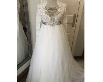 Custom made Wedding Gown white lace and tulle bridal dress