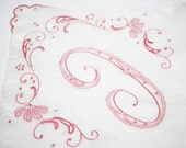 Vintage Monogrammed Letter C Handkerchief, Wedding Gift, Excellent Condition, Pink And White Hanky