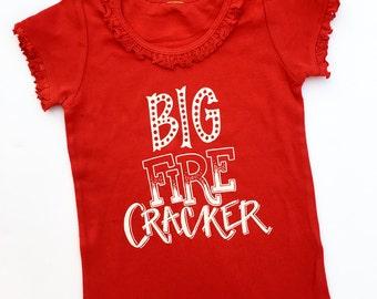 Little / Big Ruffle Firecracker Shirt. First 4th of July. Fire cracker ruffle shirt for little girl. Fireworks. Patriotic. USA. America.