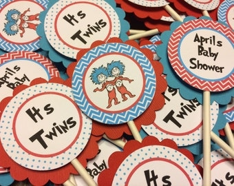 Thing 1 Thing 2 Twins Baby Shower Cupcake Toppers Set of 12