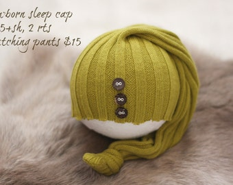 ready to ship, newborn photography prop, upcycled moss green hat with buttons, newborn baby boy prop, newborn sleep cap