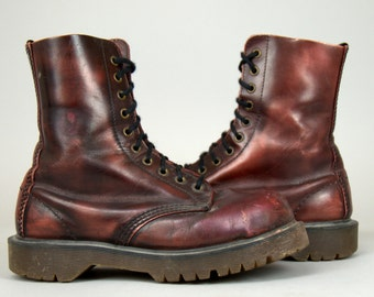 90s Dr Martens Marbled Burgundy Leather Platform Combat Boots UK 5 US Womens 7