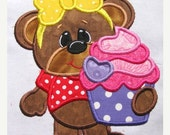 50% OFF SALE Bearly Loved Cupcake With Bow Machine Embroidery Applique Design - 4x4, 5x7 & 6x8