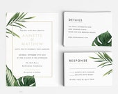 Printable Wedding Invitation Printable Set - Modern Tropical Foliage Wedding Invites- Ready to Print PDF- Letter A4 Size (Item code: P347)