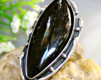 Nuummite Ring Sorcerers Stone Sterling Silver Ring