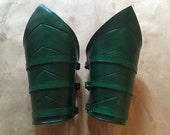 Pair of Leather Green Arrow Bracers with Buckles