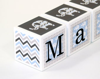 Baby Name Blocks - Personalized Letters - Nursery Decor - Baby Shower Gift - Elephants