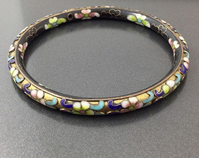 Art Deco Vintage Double Enamel Gold & Black Cloisonne Bracelet, Hi Relief Handpainted Asian blossoms. Superb.