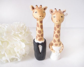 Hand Sculpted Wedding Cake Toppers - Giraffe with base