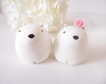 Custom Wedding Cake Toppers - Snow Polar Bear with base