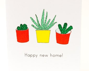 Happy New Home Card. Cactus and aloe vera. Plants in pots. Plants card. New home greeting card. Cacti card. Eco friendly recycled card.