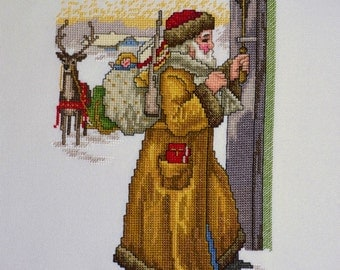 Unframed Completed Cross Stitch Wall Art Old World Santa