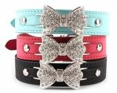 Rhinestone Crystals Bow Tie Vegan Leather Dog/Cat/Pet Collar