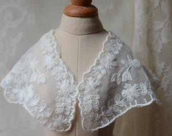 Ecru lace applique , cotton floral embroidery lace collar 2 pieces