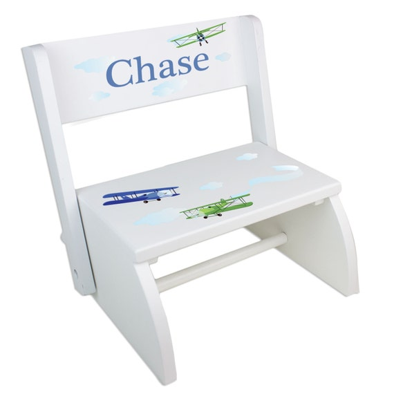 Vintage Airplane Step Stool Personalized Wood Stools By